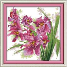 Sale Orchid (9) Patterns Counted Cross Stitch 11CT 14CT Cross Stitch Set Wholesale flower Cross-stitch Kit Embroidery Needlework