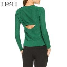 цена HYH HAOYIHUI 2016 Brand New Autumn Women Sweater Fashion V-Neck Backless Asymmetrical High Low Hem Solid Green Black Sweater в интернет-магазинах