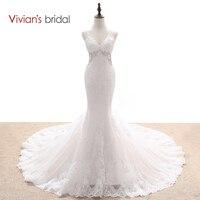 Vivian của Bridal Đa Layers Mermaid Wedding Dress Đính Cườm Sequin Ren V Cổ Tay Backless Wedding Gown WD55017