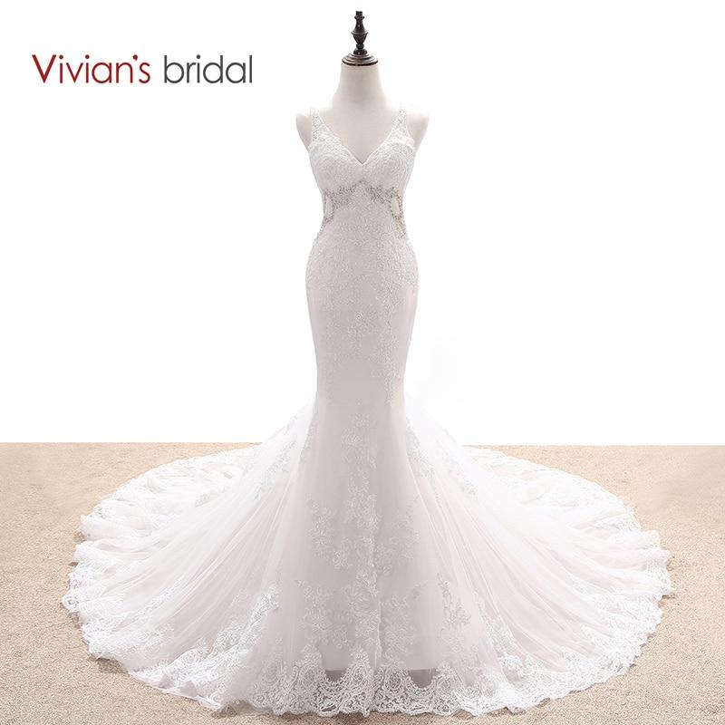 Vivian's Bridal Multi Layers Mermaid Bröllopsklänning Beaded Sequin Lace V Neck Ärmlös Backless Bröllopsklänning WD55017