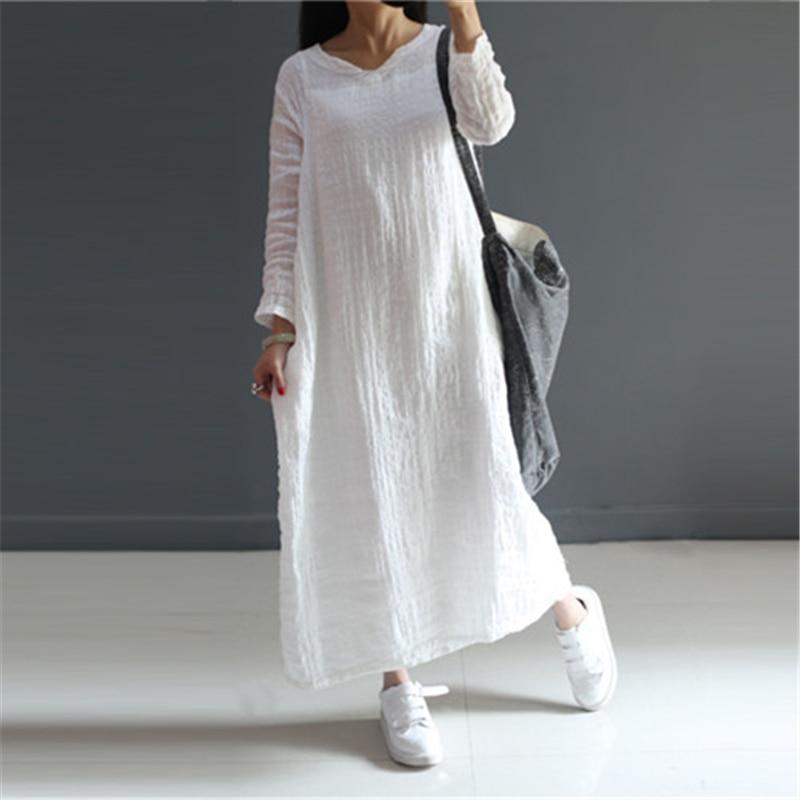 Johnature Doux Robe 2018 New Summer Femmes Coton Lin Mince Respirant Solide Régulier Col V Lâche Blanc Rose Robes