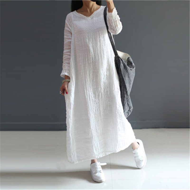 Johnature Sweet Dress 2018 New Summer Women Cotton Linen Thin Breathable Solid Regular V Neck Loose White Pink Dresses