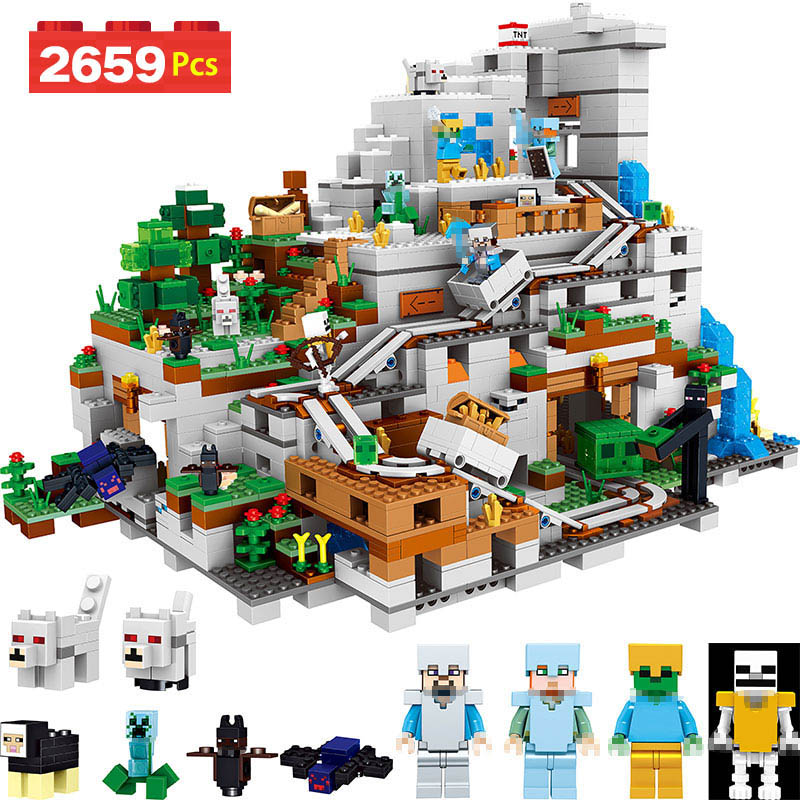 My World Series Building Blocks Compatible LegoINGlys Minecrafter 21137 Cave For Toddlers Iron Golem Clever Toys 2659 Pcs