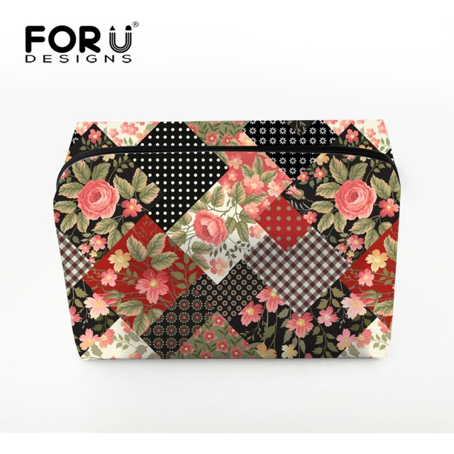 FORUDESIGNS Women Makeup Bags Vintage Floral Printing Girl Cosmetics Case For Ladies Make up Bag Pouchs Toiletry Organizer Clear