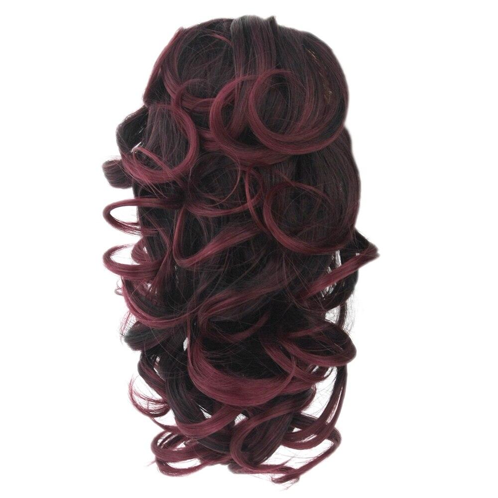 Soowee 8 цветов, Короткие вьющиеся волосы, синтетические волосы, блонд, бордовый, зажим для наращивания волос, маленький конский хвост, коготь, х...
