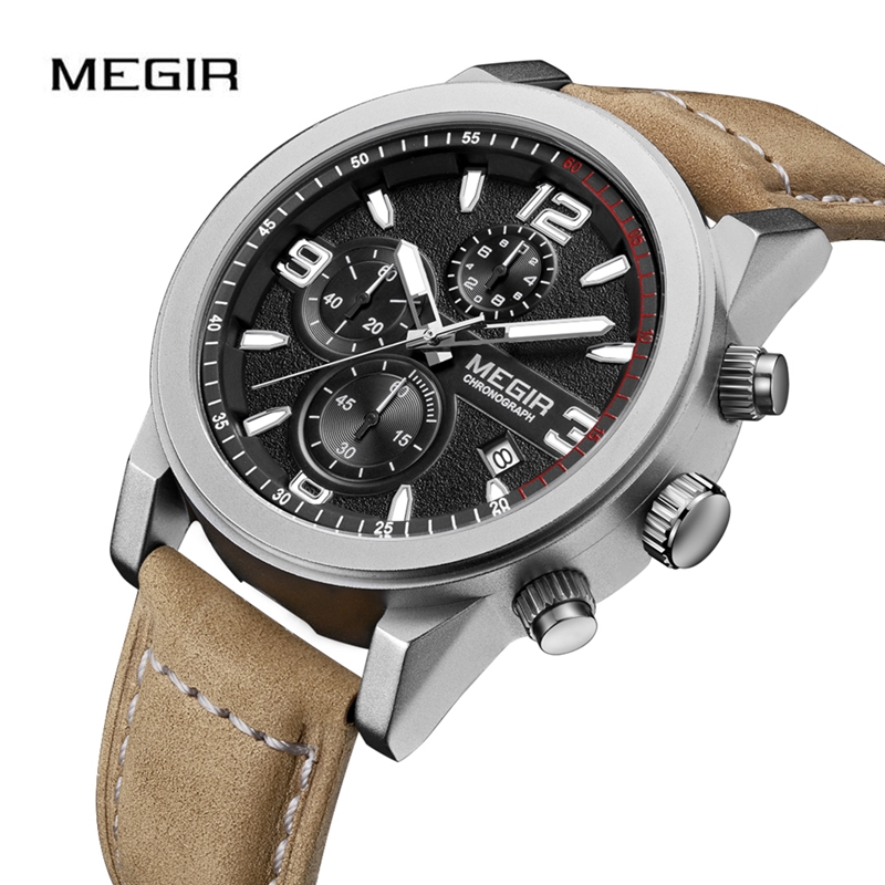 MEGIR Casual Watch Men Wristwatch Multi Function Chronograph Luminous Waterproof  Auto Date Clock Leather Strap Watches Relogio|Quartz Watches| |  - title=