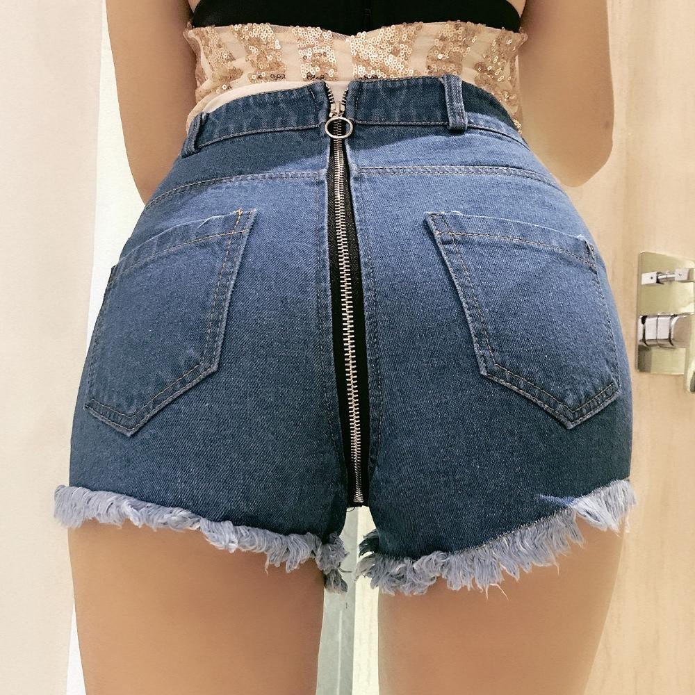 2019 New Sexy High Waist Hole Denim Shorts Jeans Zippers Clubwear DJ Dance Shorts Blue S M L