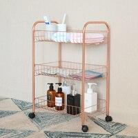 Kitchen shelf bathroom living room three tier storage rack trolley type metal multi function finishing rack wx10201948