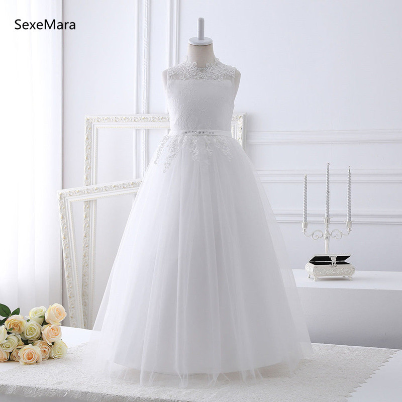 Real Picture White Lace Girls First Communion Dress Backless 2019 Flower Girls Dress for Wedding White Ivory Size 2-14Y