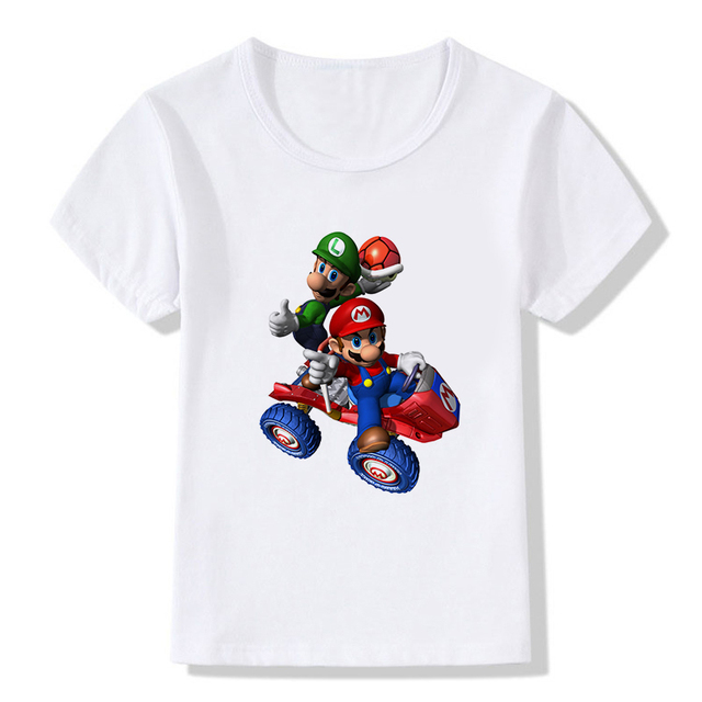 6f5f5631 Summer Tops THE Super Mario Funny T-shirt Children Super Mario Bros Game  Girls&Boys T Shirts Baby Casual White Tees Kids Clothes