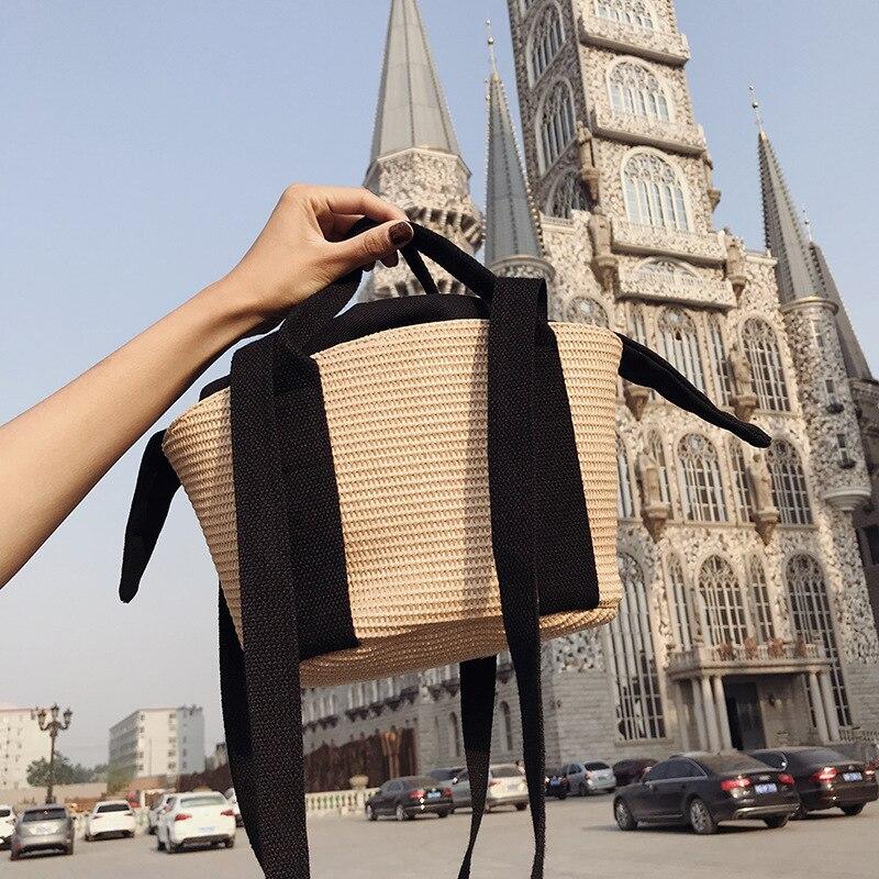 Handmade Women Straw Bags Designer Candy Color Composite Handbags Hawaii Beach Summer Handbag Japan Style Big Bag Bolsa Feminina