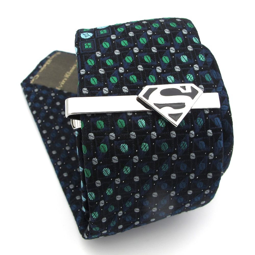 IGame Superheroes Tie Clips Quality Brass Material Novel Black Color Superman Tie Bar For Men Free Shipping