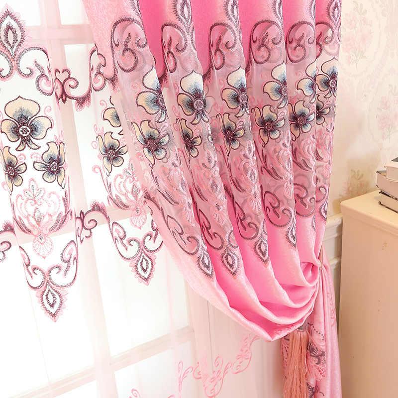 Романтические розовые шторы полузатененные европейские вышитые шторы тюль для гостиной спальни девушки окна домашний декор