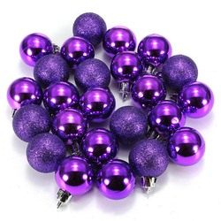 HOT SALE 24Pcs Chic Christmas Baubles Tree Plain Glitter XMAS Ornament Ball Decoration Black 6