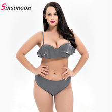 2019 New Plus Size Bikini Set Newest Swimsuit for Summer Women Female Flounced Mid Waist Large Breast Swimwear Maillot De Bain burgundy basic cutout gingham mid waist bikini set