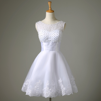 Robe de Soiree New White/Ivory Short Wedding Dress The Brides Sexy Lace  Bridal Wedding Gown Vestido De Noiva Real Sample