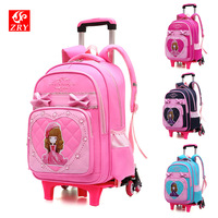 Hot style 2/6 wheels student trolley schoolbag/fashion shoulder casual bag/cartoon zipper removable backpack/boy girl bookbag