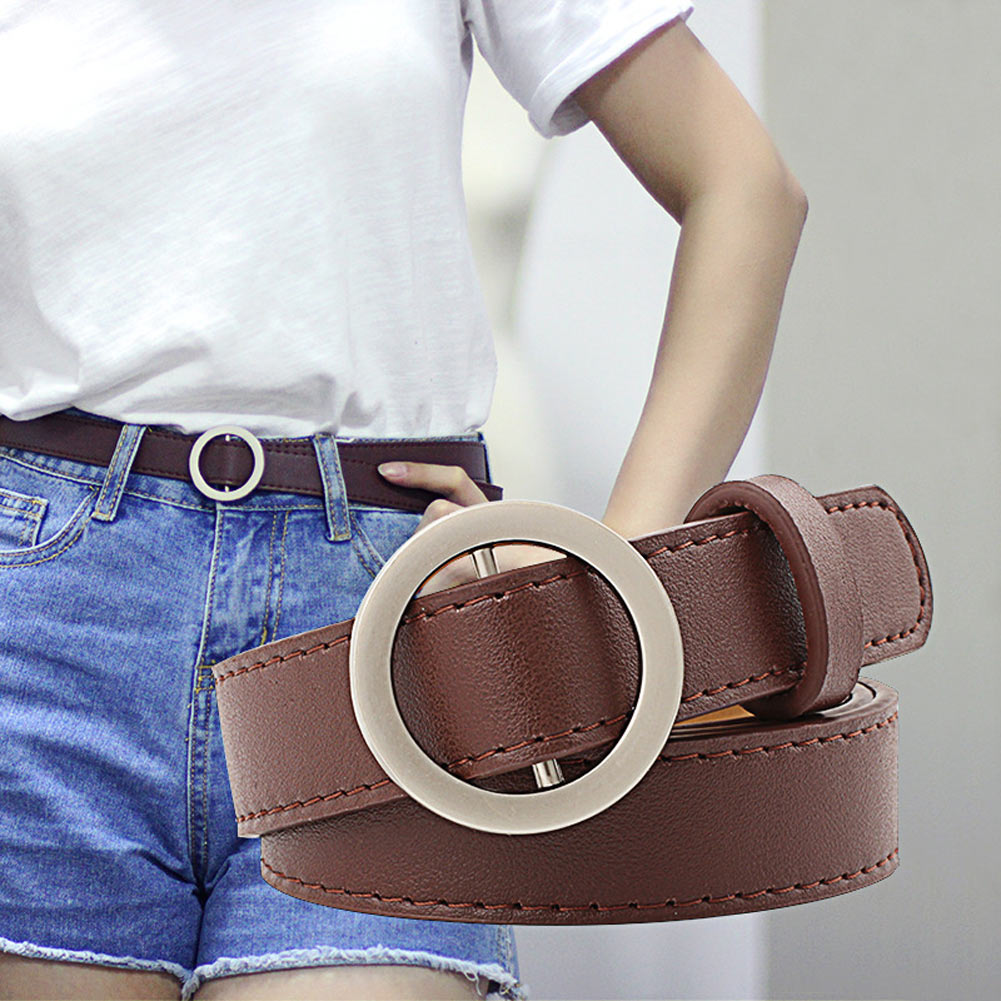 Women PU Leather Belt With Metal Circle Buckle Reversible Waist Belts for Jeans Pants -MX8