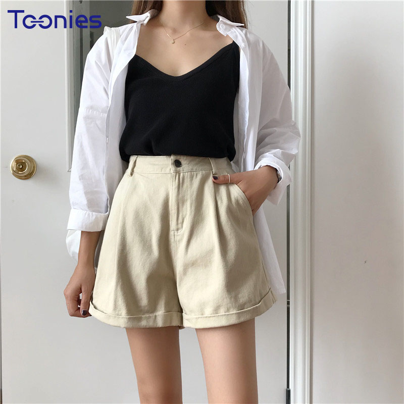 2018 New Arrival Above Knee Women Short Trousers Summer Solid Color Woman Shorts Button Fly Casual Lady Wide Leg Shorts Clothes