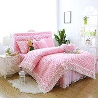 Princess bedding set thicken quilted duvet cover set Korean style bed linen set 100% cotton freshness bed cover set bed skirt