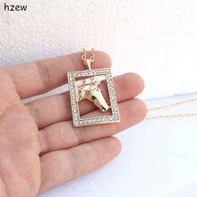 Hzew модное Хрустальное прямоугольное Брендовое ожерелье с лошадью