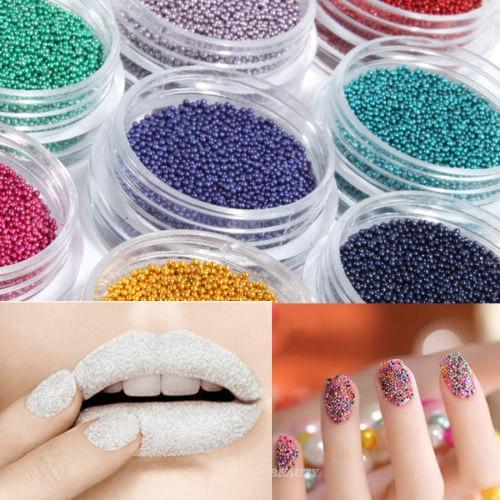 12 Kleuren Caviar Nail Glitter Plastic Kralen Glitter Poeder