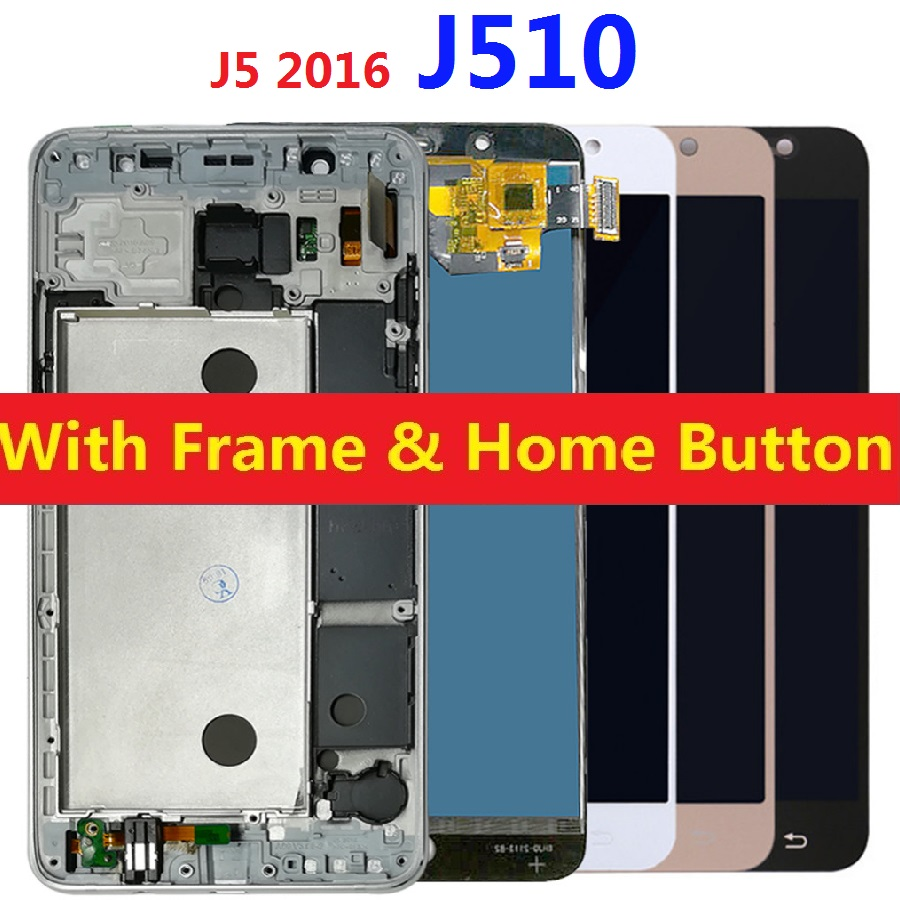 For Samsung Galaxy J5 2016 J510 LCD <font><b>Display</b></font> Touch Screen <font><b>J510FN</b></font> J510F J510M J510H/DS Adjust Brightness Frame Home Side Button image