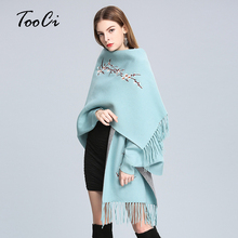 New Fashion Lady Tassel Knitted Shawl Sweater Autumn And Winter Wedding Women Embroidered Tassel Bat Sleeve Poncho Cardigan(China)