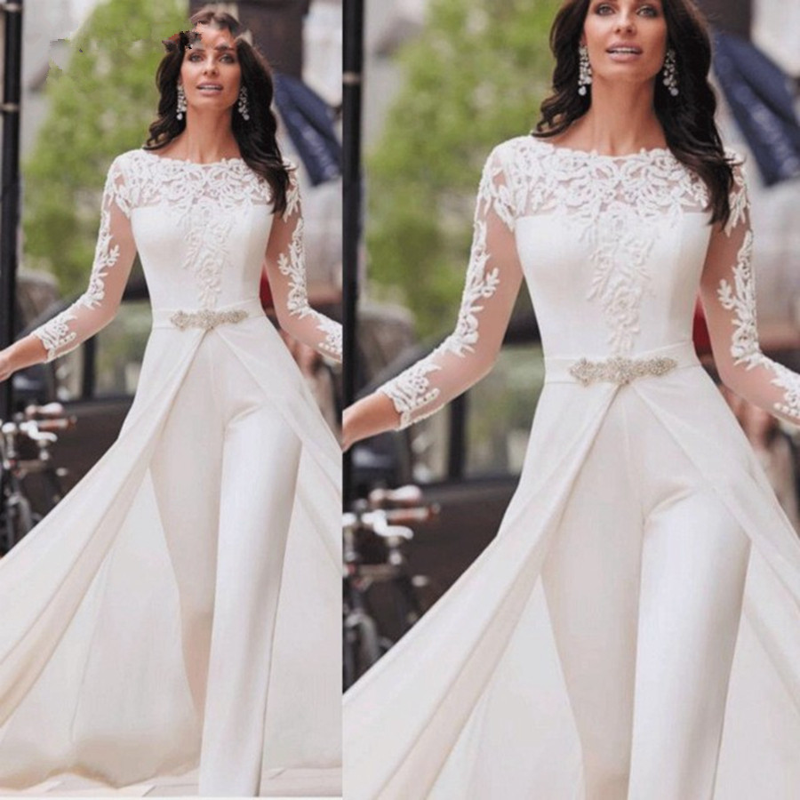 New Arrival White Long Sleeve Evening Dresses Jumpsuit Dubai Arabic Evening Dress Party Pants Abiye Formal Dress Robe De Soiree