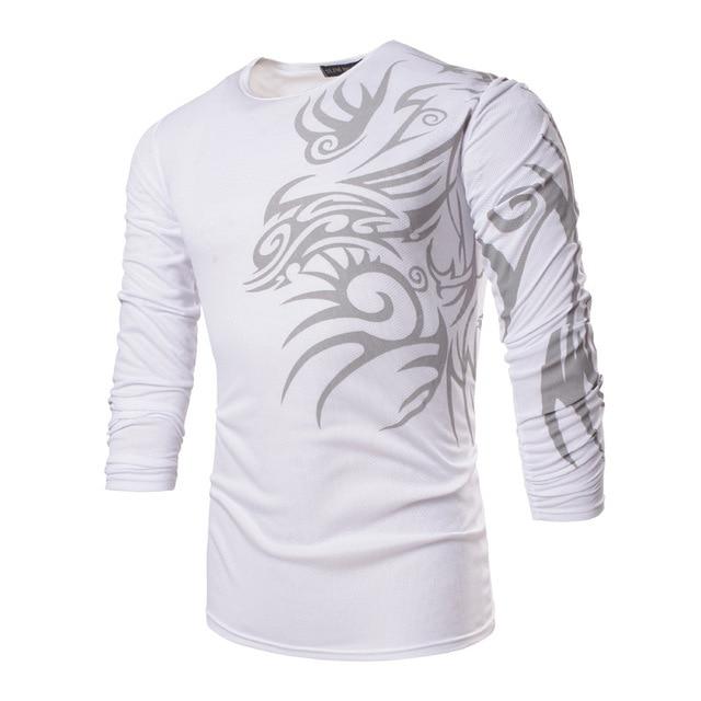 Men s T Shirt Fashion New Hot Sale Long Sleeve All Season long Sleeve T-Shirts  Tees Dragon Printing Slim Style Shirts TX71 END 64c8681f217