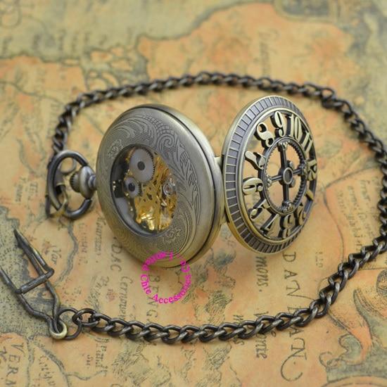 الجملة المشتري الميكانيكية ساعة جيب الرجال جديد البرونزية الرجعية خمر فوب الساعات الكلاسيكية العربية عدد مع سلسلة نوعية جيدة-في ساعات جيب بها سلسلة من ساعات اليد على  مجموعة 3