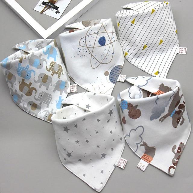 Baby Bibs Triangle Double Cotton Bibs 5 pieces/lot Cartoon Print Saliva Towel Baby Boys Girls Feeding Apron Cotton Bandana Bibs 2