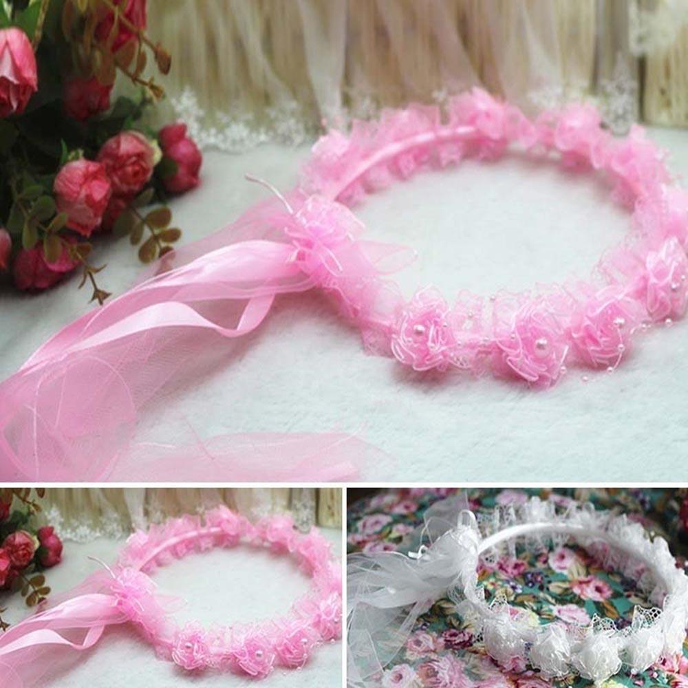 1 pcs Wedding Flower Girl Veil Garland Headband Headwear Rose Ribbon ...
