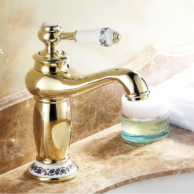 Free Shipping Gold Taps Bathroom Tap Sink Br Chromed Faucet Bath Mixer Single Handle Desk Mounted 11123 In Basin Faucets From Home