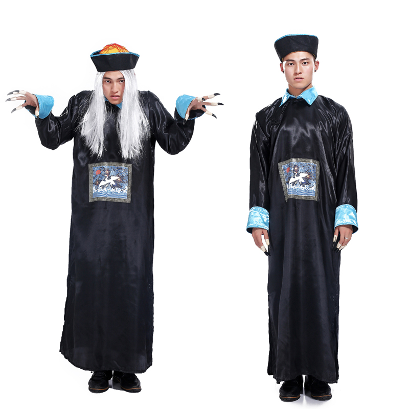 Free shipping Halloween Masquerade Horror Qing robes male adult costume zombie costume role playing the spirits