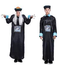 O envio gratuito de Halloween Masquerade Horror Qing vestes traje masculino adulto zombie costume role playing os espíritos