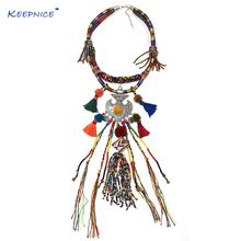 ФОТО clothing accessories bohemian boho ethnic beaded tassel choker necklace handmade colorful beads long fringe pendants necklace
