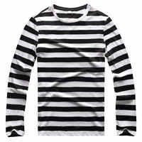 T-shirts à rayures noires et blanches pour hommes t-shirts pour hommes à manches longues col rond garçon Cool coton