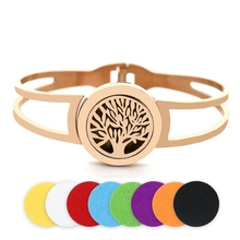 BOFEE Aromatherapy Bracelet Bangle Diffuser Essential Oil Locket Tree Of Life Charm Stainless Steel Perfume Travel Jewelry Gift