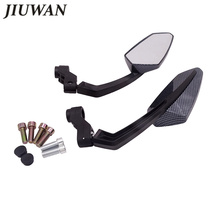 1 Pair 8/10mm Black Carbon Fiber Style Universal Motorcycle Mirrors Motocross Rear View Motorbike Scooter Side Mirror