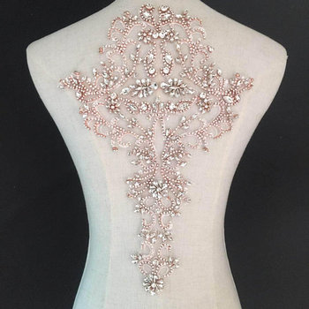 Rose gold Rhinestone bodice applique, crystal bodice applique for bridal, deluxe rhinestone bodice for haute couture фото