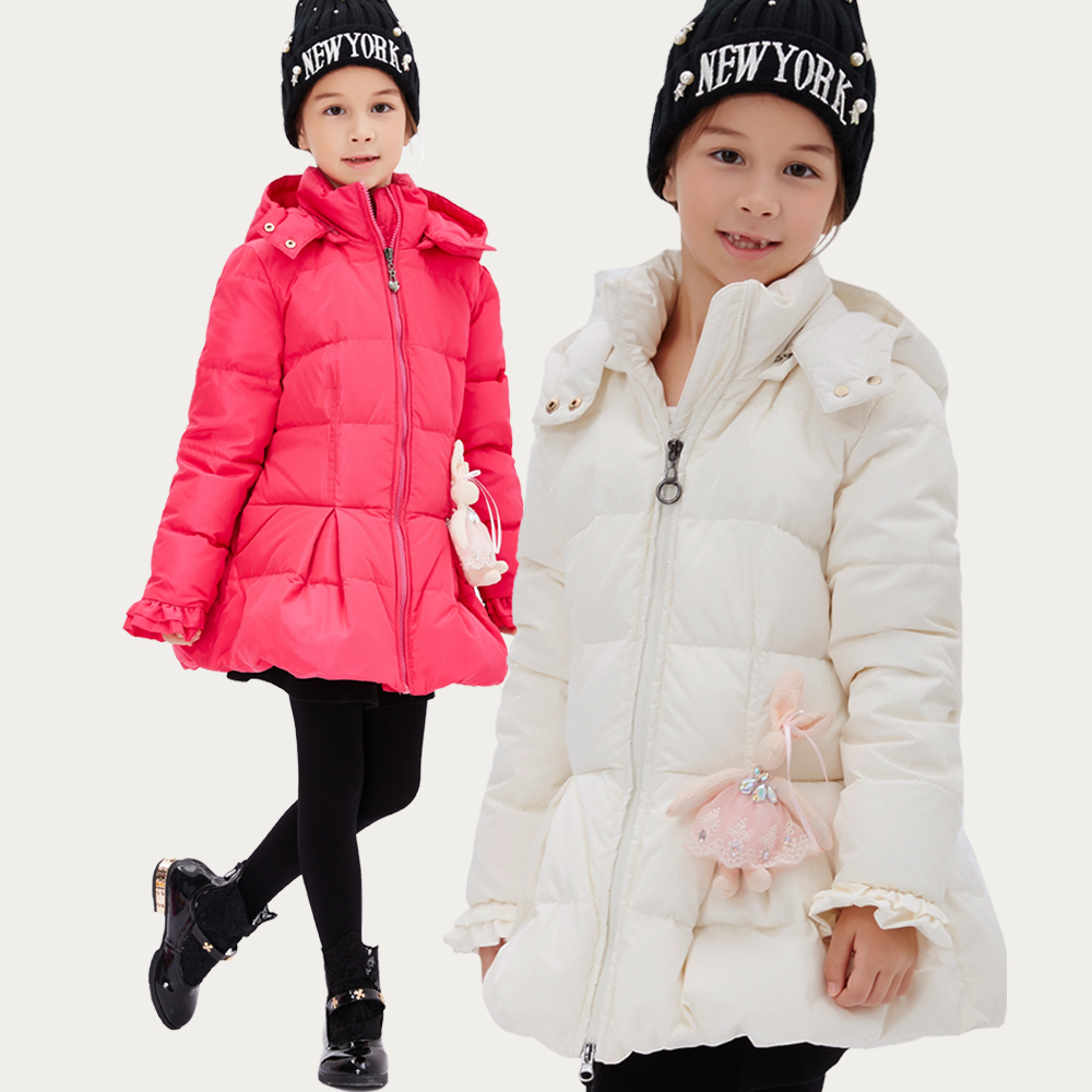 Children Duck Down Coat For Girls Hooded Parka Fashion Winter Outwear Kids Jacket Warm Cloth Mid-long Thick Warm Christmas