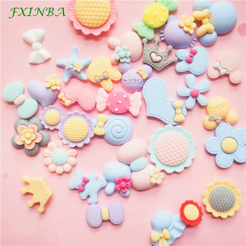 FXINBA 5Pcs/Lot New Resin Flower Candy Charms For Slime Clay Cake DIY 3D Animal Charms Phone Decoration Slime Supplies Kit Toys