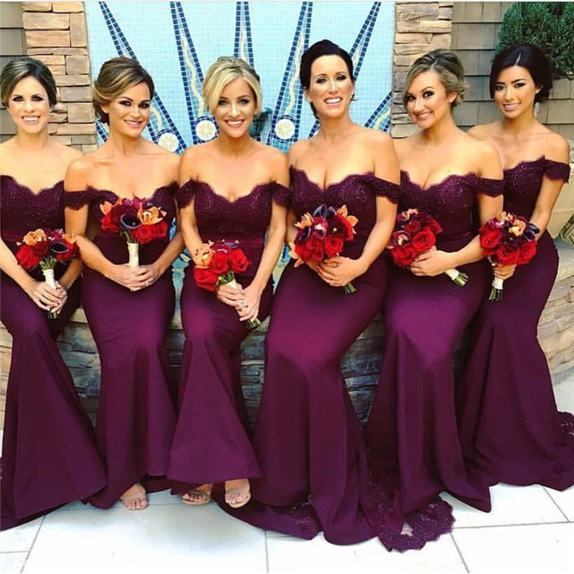 Off The Shoulder Vestido Madrinha Long Purple Bridesmaid Dress 2017 Mermaid Dresses
