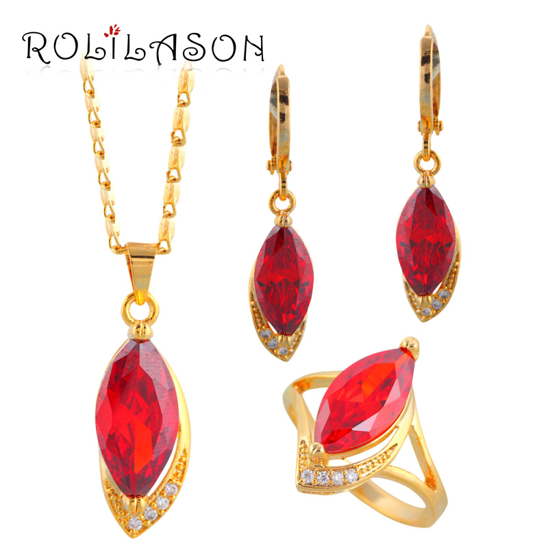 Party Sets gold Tone Zircon Zircon Jewelry Sets Earrings Necklace Ring Sz 7 5 6 5