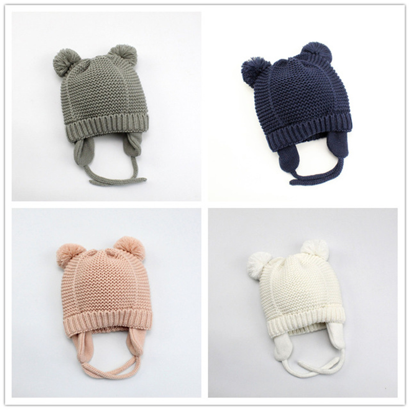Baby Hat Baby Winter Girl Hat Boy New Plus Velvet Hair Ball Baby Knit Earmuffs Cold Warm Wool Cap Winter Hats For Kids 1-2y