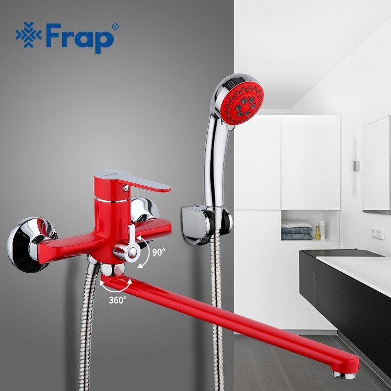 Frap 1 set mur monté 35 cm rouge tuyau De Sortie De Bain douche robinet En Laiton corps surface Pulvérisation peinture tête de douche salle de bains robinet F2243