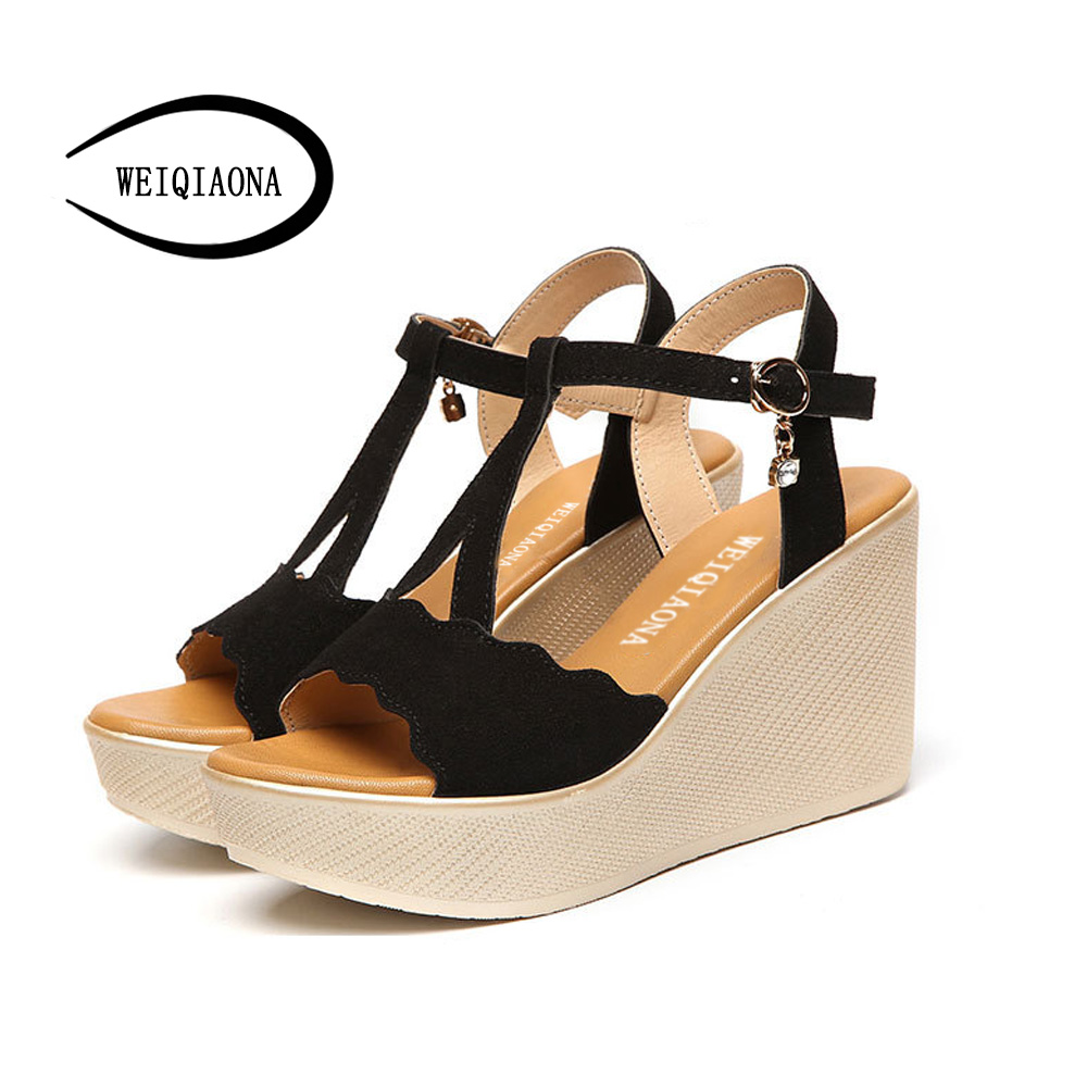 WEIQIAONA 2018 New Hot Sale Fashion Summer Women Shallow Mouth Sandals High Waterproof Platform Expose Toe Sexy Casual shose