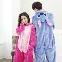 Adultos Flanela Pijamas Onesie Animal Bonito Dos Desenhos Animados Azul/Rosa Stich Pijama Define Traje Do Partido Cosplay Pijamas Para Mulheres Dos Homens