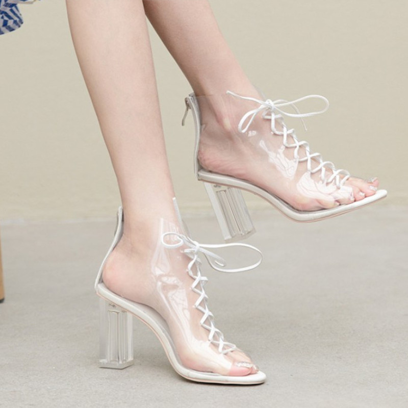 Open Toe Summer Boots Women High Heels Clear Heel Ladies Sandals Comfortable Transparent Sandals Women Pumps High Quality